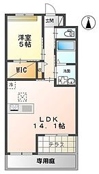 JR東海道本線 鴨宮駅 徒歩25分の賃貸マンション 2階1LDKの間取り