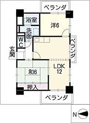 レジデンス内田橋[5階]の間取り