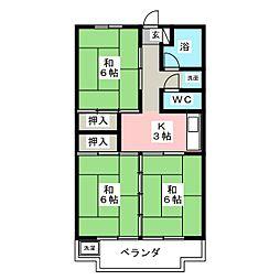 陽山ハイツ[3階]の間取り