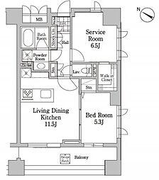 JR山手線 恵比寿駅 徒歩4分の賃貸マンション 2階2LDKの間取り