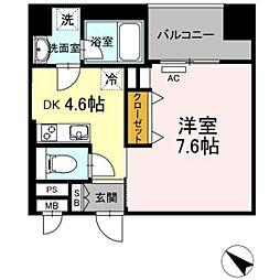 西鉄天神大牟田線 薬院駅 徒歩6分の賃貸マンション 4階1DKの間取り