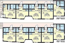 JR横須賀線 保土ヶ谷駅 徒歩9分の賃貸アパート 2階ワンルームの間取り
