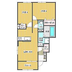 十二町アパートA 1階2LDKの間取り