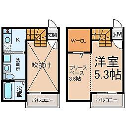 愛知県名古屋市熱田区河田町の賃貸アパートの間取り