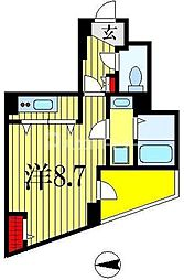 クレイドル千葉 7階1Kの間取り