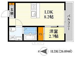 Osaka Metro谷町線 千林大宮駅 徒歩4分の賃貸アパート 1階ワンルームの間取り
