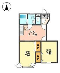 愛知県日進市梅森町新田の賃貸アパートの間取り
