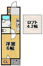 ジュンズタカミ 5階1Kの間取り