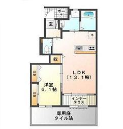 京阪本線 萱島駅 徒歩15分の賃貸アパート 1階1LDKの間取り
