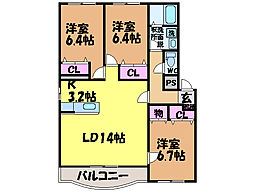 愛媛県松山市北土居5丁目の賃貸マンションの間取り
