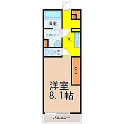 リブリ・Garden Quartz 3階1Kの間取り