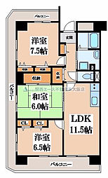 アンドユーイワキ・東大阪[8階]の間取り