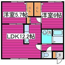 北海道札幌市北区篠路八条5丁目の賃貸アパートの間取り