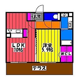 福岡県福岡市博多区東光寺町1丁目の賃貸アパートの間取り