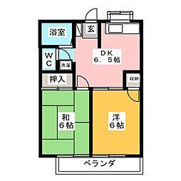 サンテラス篠田 2階2DKの間取り
