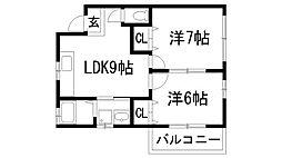 ローズハイツ尾崎[2階]の間取り