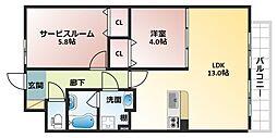 大阪府大阪市平野区長吉長原1丁目の賃貸アパートの間取り