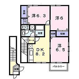 イースト丸亀 D(アパート) 2階3DKの間取り