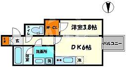 レオンコンフォート本町橋 2階1DKの間取り