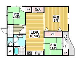 新金岡第8次住宅15棟[8階]の間取り