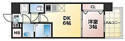 オリエンテム 11階1DKの間取り