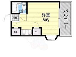シャトー21 4階ワンルームの間取り