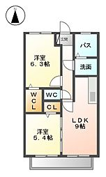 愛知県清須市須ケ口の賃貸アパートの間取り