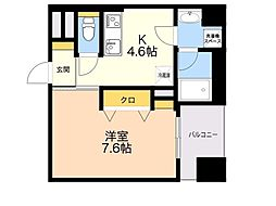 D-room gracious平尾 3階1DKの間取り