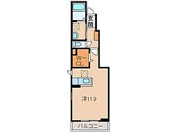 南海線 和歌山市駅 バス6分 花王橋下車 徒歩4分の賃貸アパート 1階ワンルームの間取り