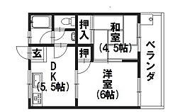 サンハイツ新田[201号室]の間取り