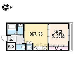 京都市営烏丸線 丸太町駅 徒歩7分の賃貸マンション 1階1DKの間取り