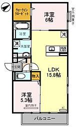 フリージア天王寺 2階2LDKの間取り
