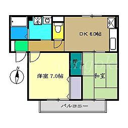 ラポール野本B棟[2階]の間取り