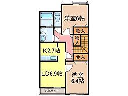 静岡県富士宮市大中里の賃貸マンションの間取り