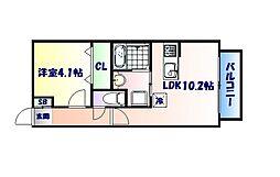 仙台市営南北線 長町一丁目駅 徒歩28分の賃貸アパート 1階1LDKの間取り