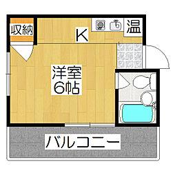 中田ハイツ[202号室]の間取り