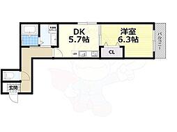 南海高野線 堺東駅 徒歩9分の賃貸マンション 4階1DKの間取り