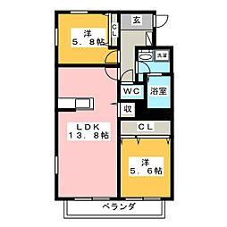 リバーサイド桜[3階]の間取り