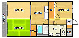 兵庫県神戸市北区鈴蘭台北町3丁目の賃貸マンションの間取り