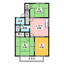 コーポ森 B[1階]の間取り