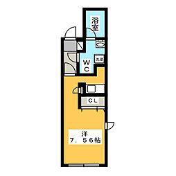 オイコス東山 5階ワンルームの間取り