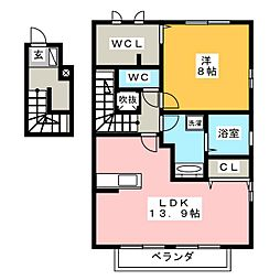 ヴィラソレイユB[2階]の間取り