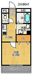 大阪府四條畷市岡山3丁目の賃貸アパートの間取り