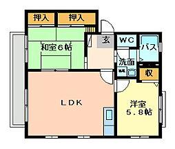 ウェールズ・紫B棟[2階]の間取り