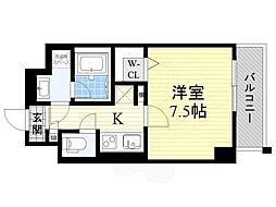 阪急京都本線 高槻市駅 徒歩5分の賃貸マンション 6階1Kの間取り