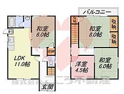 堺市東区南野田貸家 1階4LDKの間取り