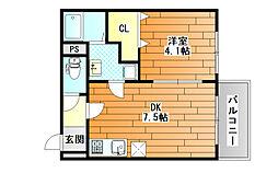 Maison Dream 藤井寺 (メゾンドリーム藤井寺) 2階1DKの間取り