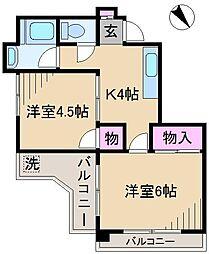 第1シャトー山田[4階]の間取り