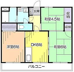 東京都小平市花小金井2丁目の賃貸マンションの間取り