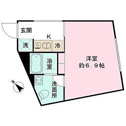 都営三田線 春日駅 徒歩10分の賃貸マンション 2階ワンルームの間取り